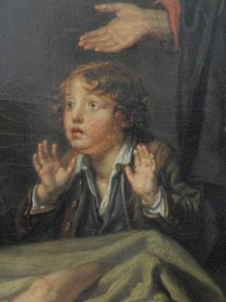 191 fils puni - greuze - enfant effraye et main