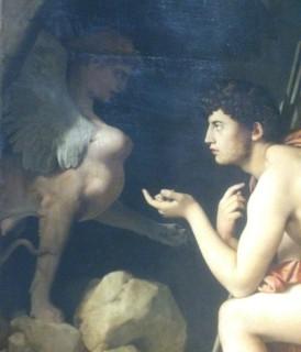 203 - oedipe explique lenigme du sphinx - ingres - la sphinge