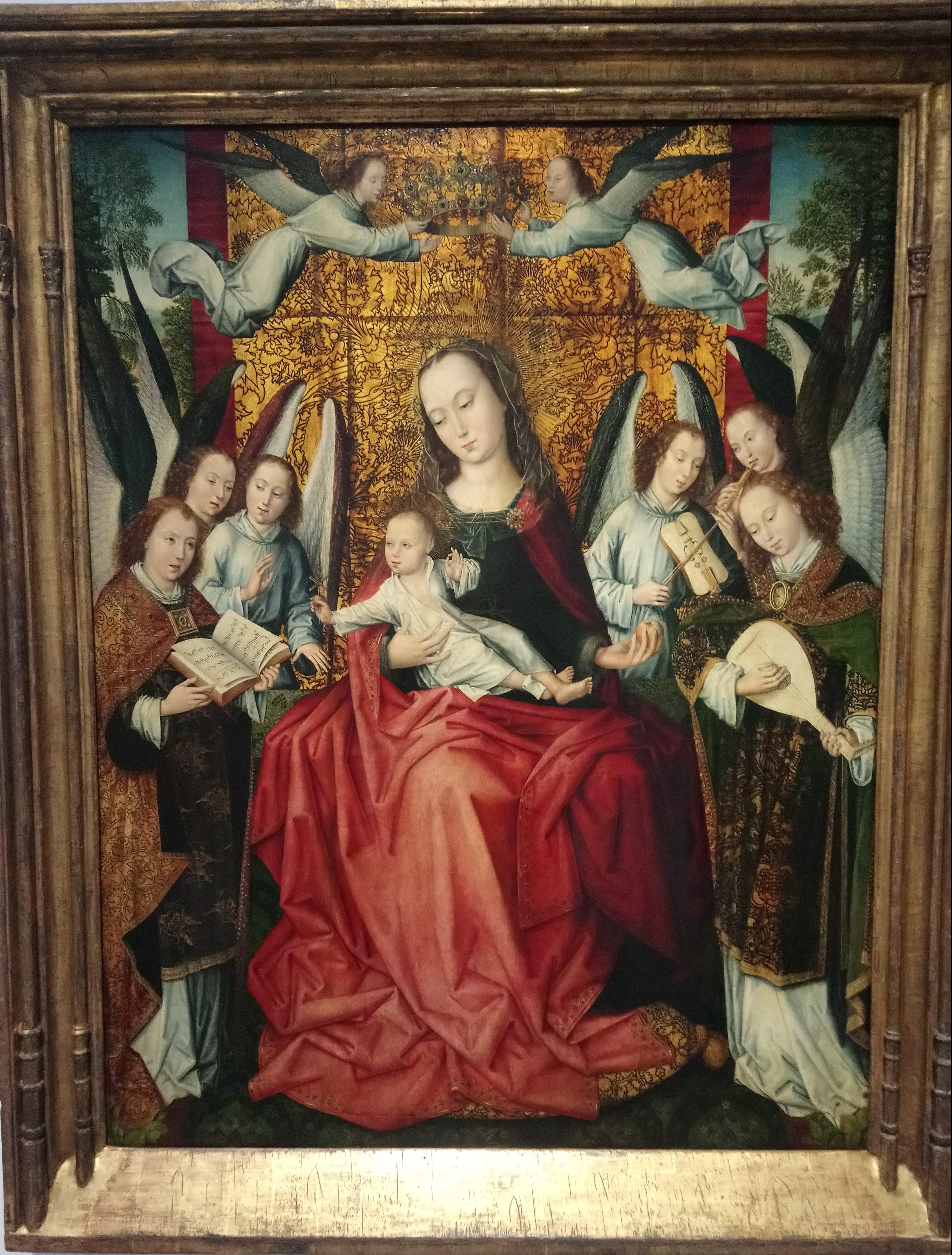 136 - maître du feuillage en broderie - Vierge à l'enfant entourée d'anges musiciens