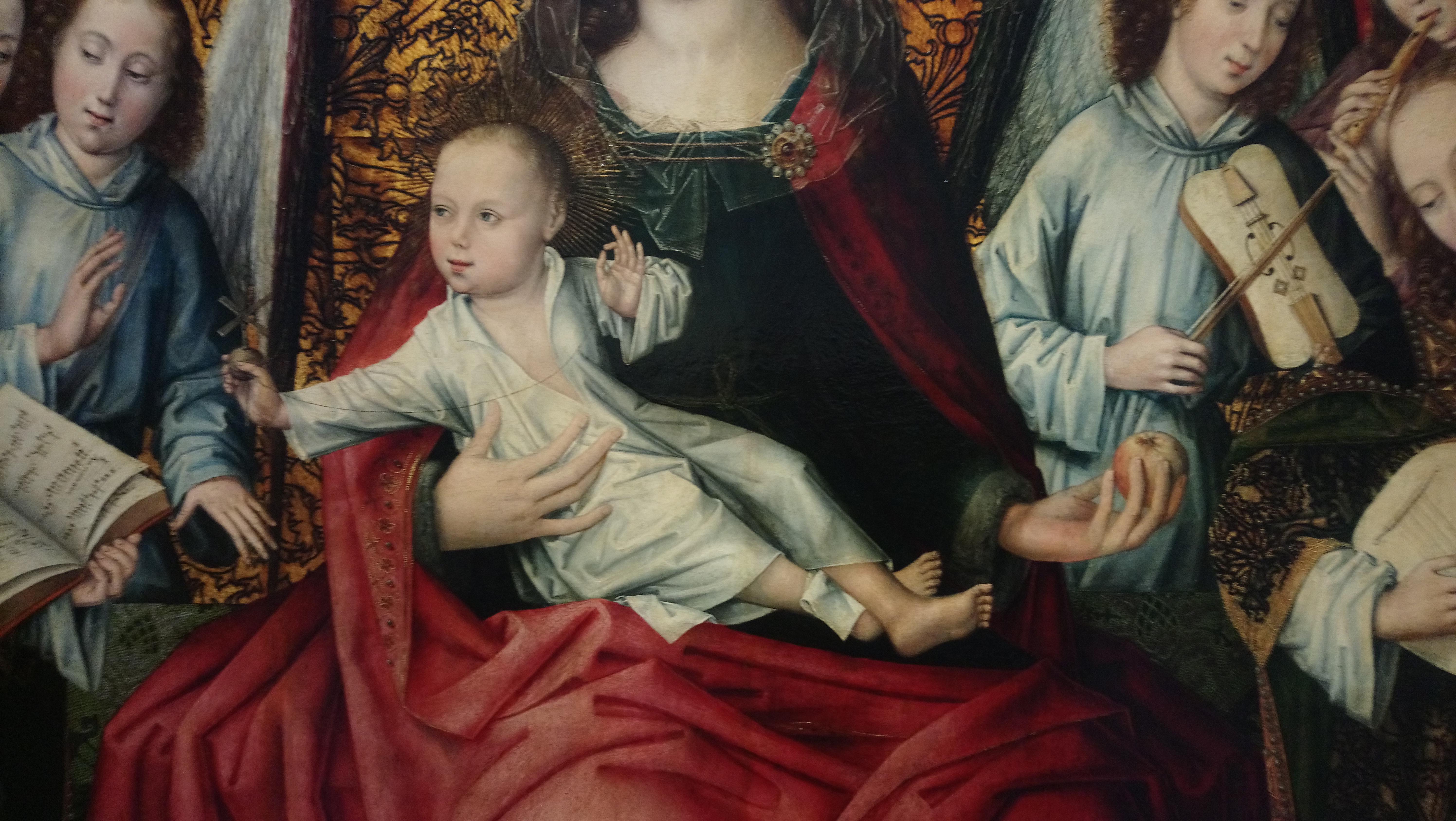 136 - maître du feuillage en broderie - Vierge à l'enfant entourée d'anges musiciens - Le Christ enfant